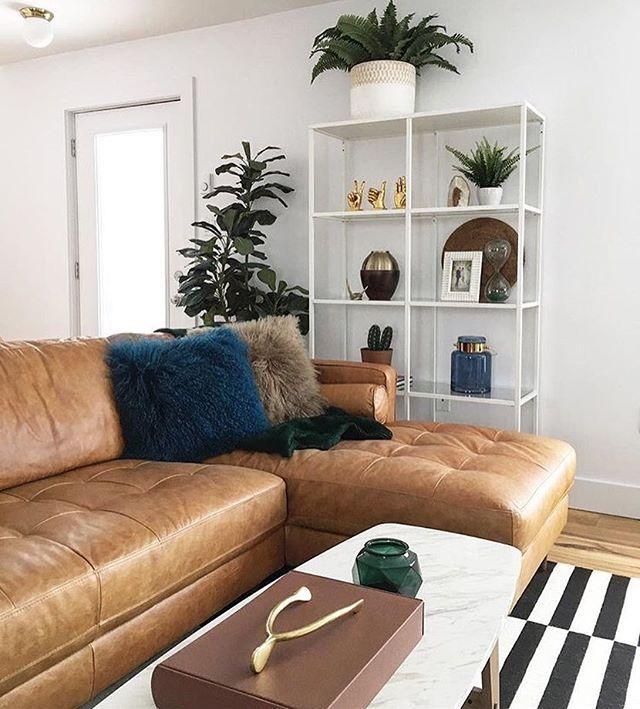 KINSEY Caramel 100% Leather Sectional Sofa Left