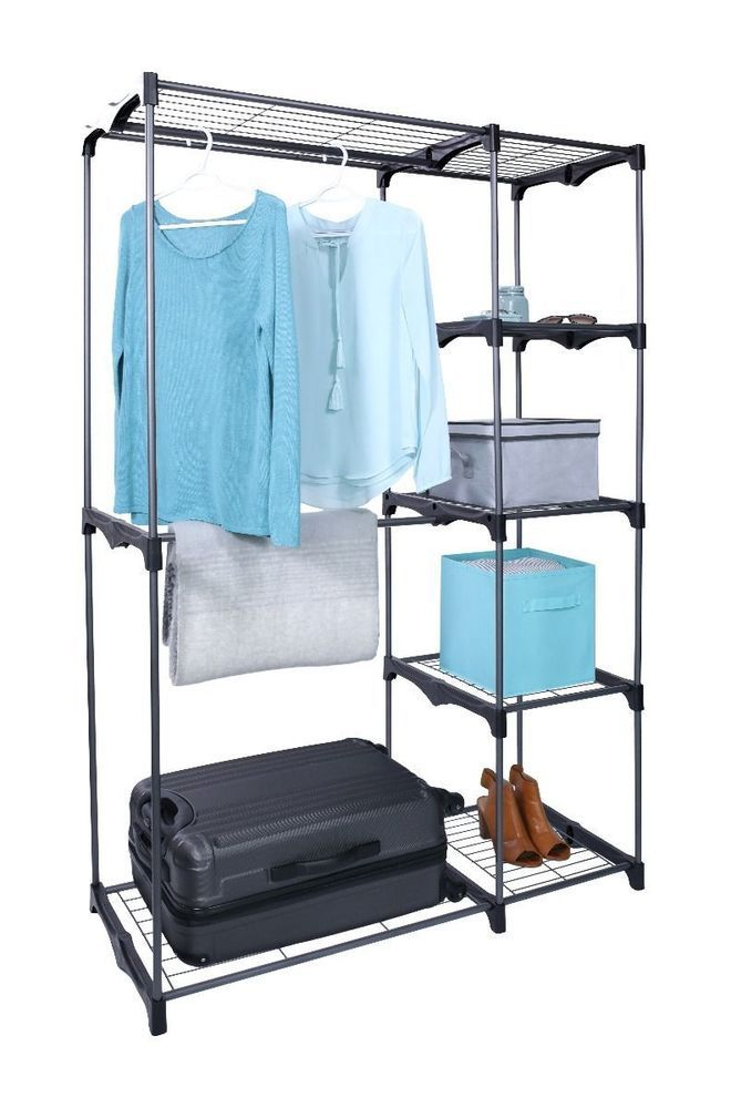 Tidy Living - Double Rod Closet - Portable Bedroom Wardrobe Storage Rack Kit #TidyLiving