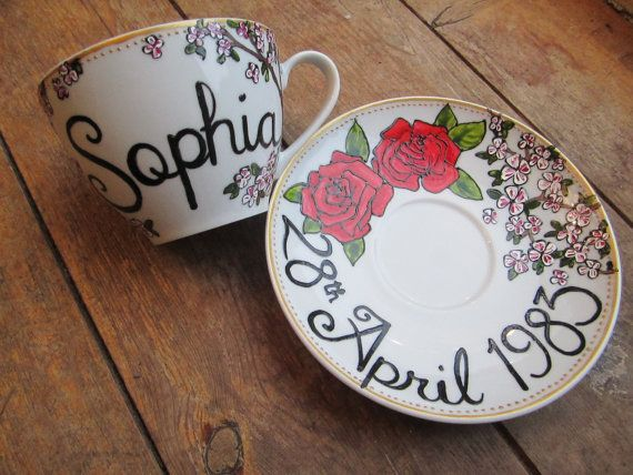 Hand painted birthday tea cup and saucer, personalised via Etsy Roses, cup of tea, tea time, tea party