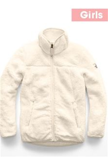 3231e7d86f01 The+North+Face+Campshire+Full-Zip+Sherpa+Jacket+for+Girls+in +Vintage+White+NF0A3CU8-11P