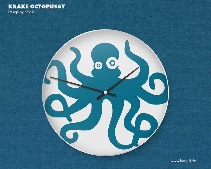 """Kinderzimmerdekoration - Wanduhr Kinderzimmer """"Octopus"""" - ein Designerstück von hatgirl bei DaWanda"""
