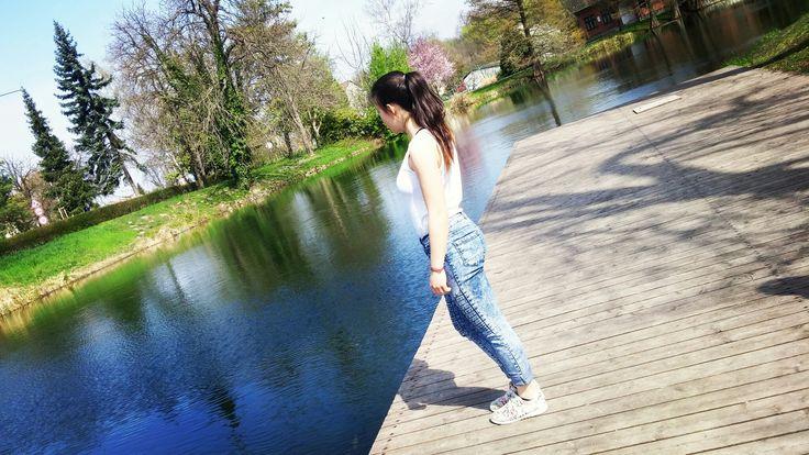 #lake #girl #spring