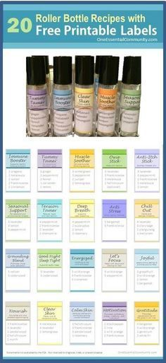 roller bottle recipes with FREE printable labels! Includes Immune Booster, Tummy Tamer, Muscle Soother, Owie Stick, Anti-Itch Stick, Seasonal Support, Tension Tamer, Deep Breath, Anti-Stress, Chill Out, Grounding Blend, Good Night Sleep Tight, Energized, Lets Focus, Joyful, Nourish, Clear Skin, Calm Skin, Motivation, and Gratitude #essentialoils #essentialoilrecipes #rollerbottlerecipes #rollerbottleblends #essentialoilDIY