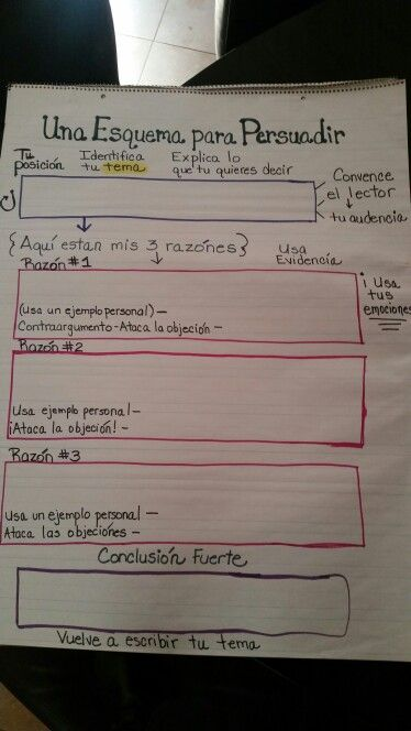 Persuasive writing outline in Spanish