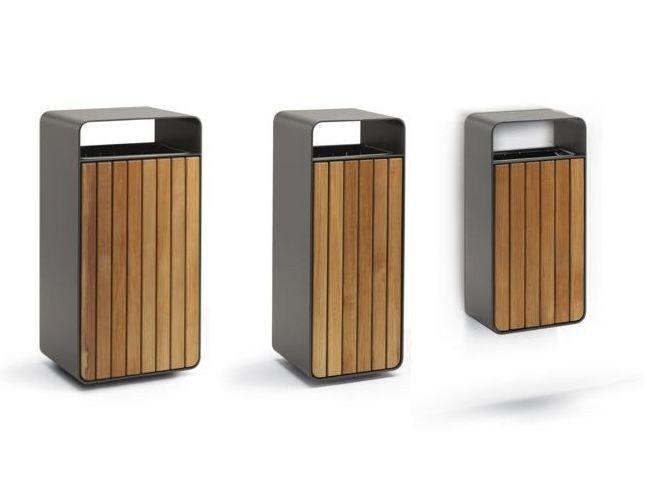 Wooden waste bin with ashtray BOX WOOD by Metalco design Staubach   Kuckertz