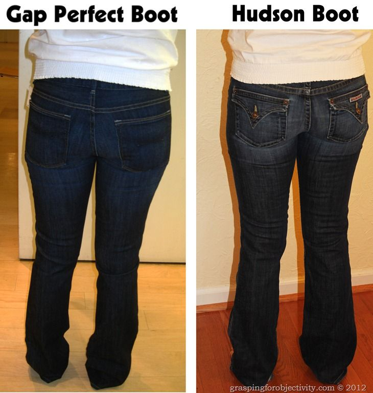Gap Boot Vs Hudson Boot- Same girl, same day, showing about 30 different pairs of jeans to help illustrate the importance of a good cut/fit/style. What to look for in pocket placement, flare, waist, etc. to best compliment your body.