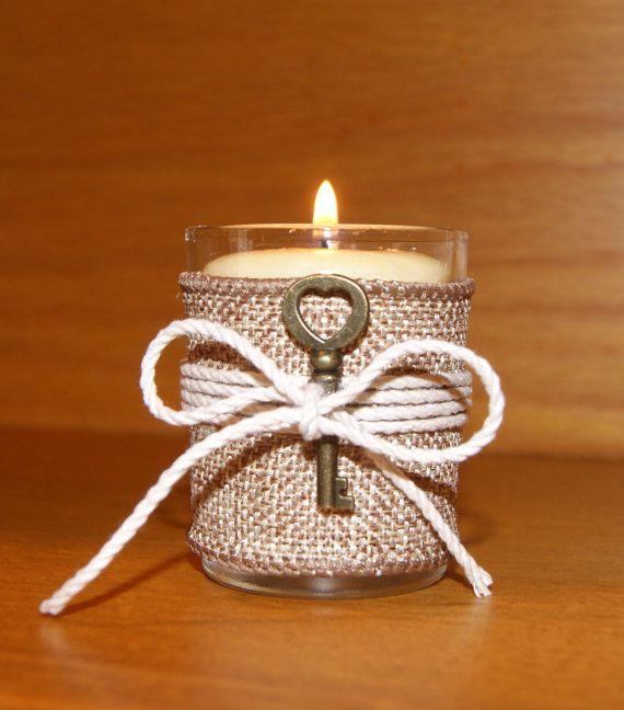 Amazing Rustic Wedding Decor / Burlap Wedding Votive Candle Holder / Skeleton Key  Wedding / Country Wedding / Autumn Wedding / Rustic Home Decor /6