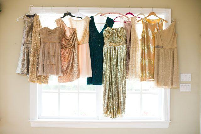 gold sparkly bridesmaid dresses, photo by starfishstudios.com