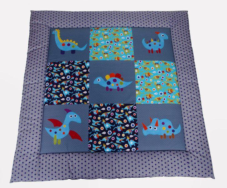 Babydecken - Dicke Krabbeldecke Dinos grau Junge mit Namen - ein Designerstück von EuleLulu bei DaWanda