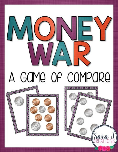Money War Game   Playing the card game war is a fun way for students to practice comparing numbers. In this version students must count coins first to compare the numbers. When it is a game it makes practicing counting money just a little bit more fun right?  Click here to download your free money war cards  card game counting money money money games PreK-2 Sara J Creations