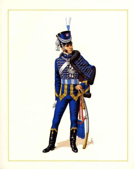1812, Chile - Oficial del Regimiento de Caballeria Húsares de la Gran Guardia - Julio Berrios Salazar.