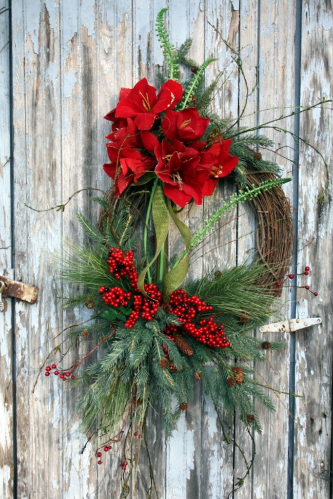 Winter Wreath, Red Amaryllis, Mixed Pine, Red Berries. $120.00, via Etsy.