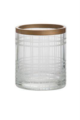 Votiveholder Copper & Sandblast Votivehållare i glas med ränder i koppar och frostat.   Mått: ca höjd 80, b 70, d 70mm