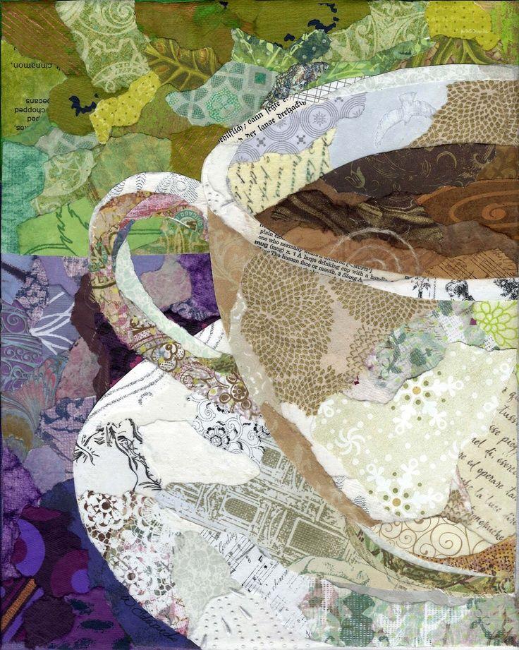 torn paper paintings | Cafe Series - Torn Paper Paintings Notecards. $12.00, via Etsy.