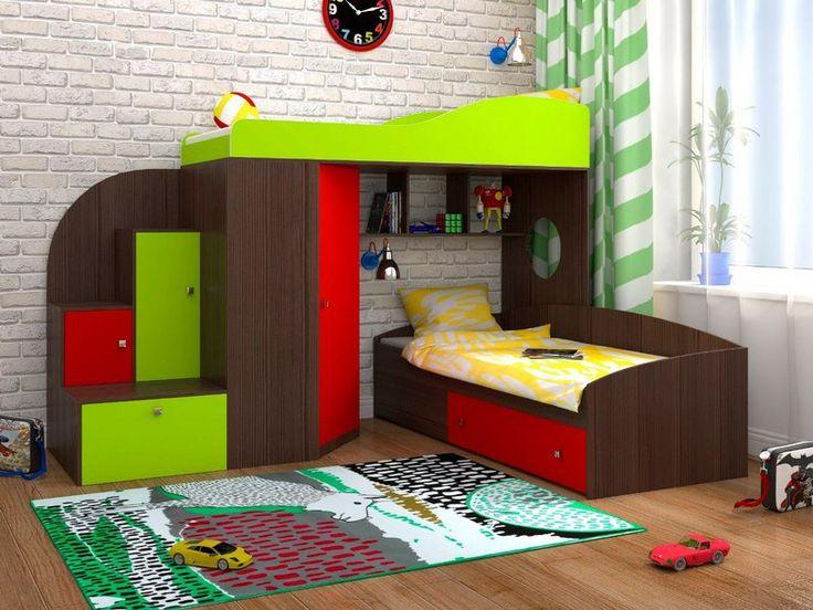 Двухъярусная кровать Кадет 2, Бодего темный/Красный/Лайм (Ярофф), фото 1