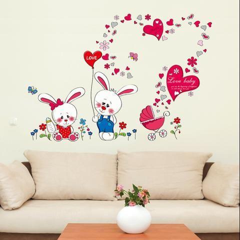 Cute Love Rabbit nursery wall sticker