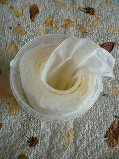 podomácku udělané vlhčené ubrousky Roli papírových utěrek rozřízněte napůl. Dál budete pracovat jen s jednou polovinou.  V kyblíku smíchejte: 1 hrnek vody 1 polévkovou lžíci gelu na umývání 1 polévkovou lžíci oleje Celé to promíchejte, trošku to pění.Do směsi postavte roli kuchyňských utěrek, kyblík zavřete a postavte na víčko. Nechejte deset minut stát.  Otevřete kyblík, vytáhněte z role středovou rourku z tvrdého papíru a povytáhněte vnitřní útržek ven. Ubrousky budete tahat odstředu