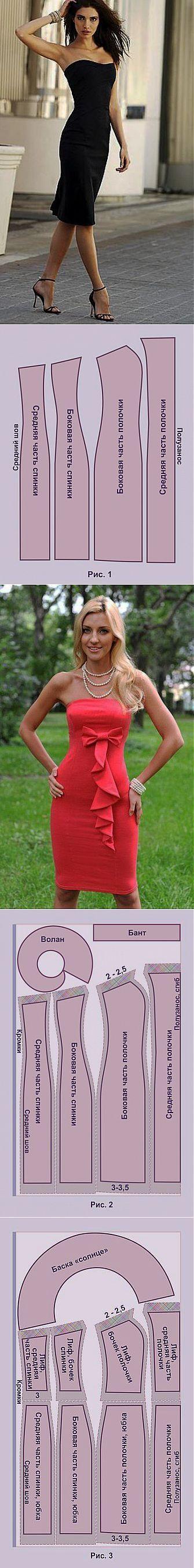 Платье без бретелек + выкройка   Дамские хитрости