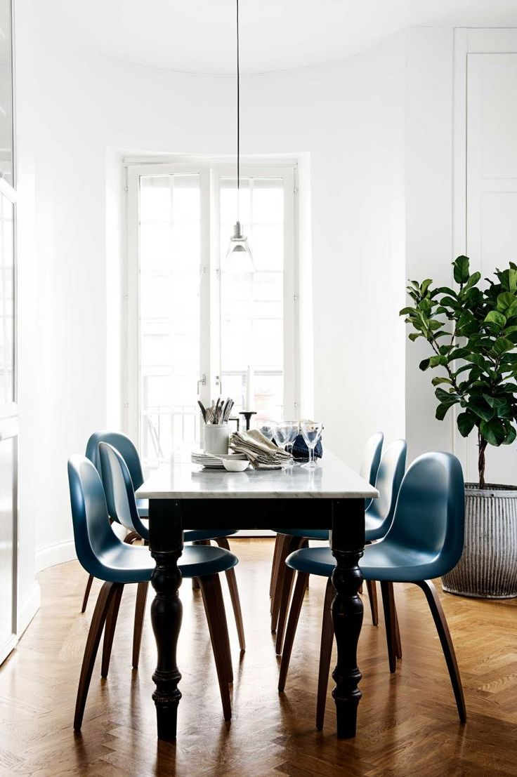 Bertoia chair dining room - Dining Room Herringbone Wood Floor Blue Leather Dining Chairs White French Doors