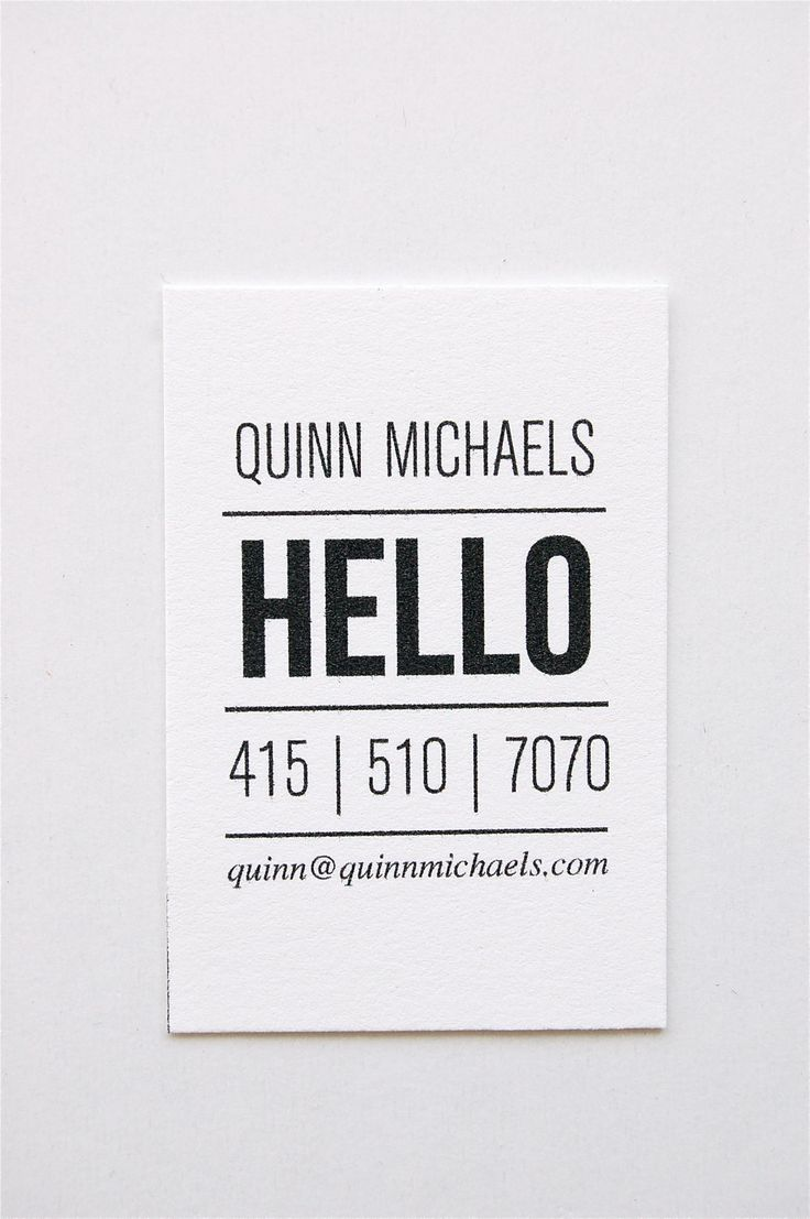 I like the simplicity of this calling card. It really gets your attention.