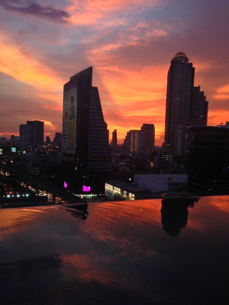 Bangkok- sun sets on a beautiful evening