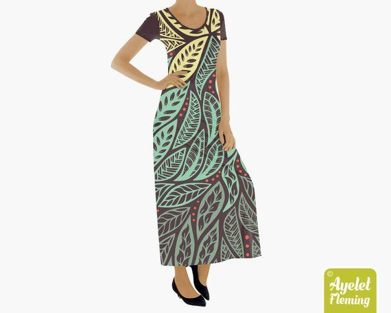 d17d00b6c5b Tribal dress Long dresses for women Muumuu hawaiian dress Yellow green maxi  dress Cotton dress Polynesian