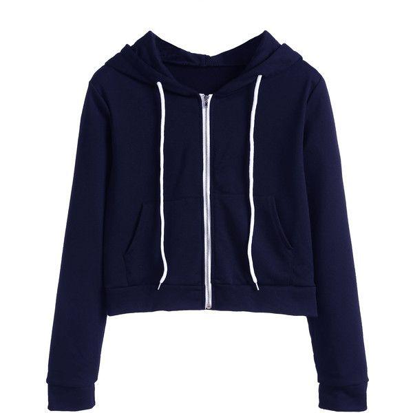 SheIn(sheinside) Navy Zip Up Pocket Hooded Sweatshirt ($17) ❤ liked on Polyvore featuring tops, hoodies, navy, long sleeve tops, navy zip up hoodie, hooded pullover, hooded zip up sweatshirt and blue zip up hoodie