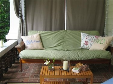 Convert A Futon Into A Porch Swing (chains, Wire Cable, Carriage Bolts,