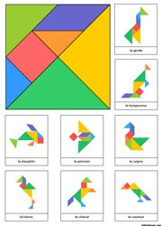 Tangram à imprimer en couleur avec 8 modèles d'animaux