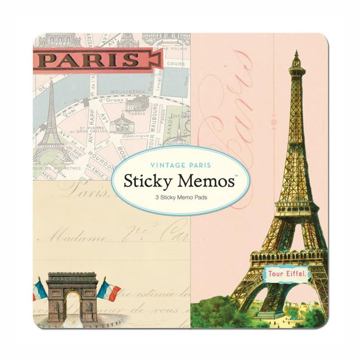 Sticky Memo Pads, Vintage Paris, The French Shoppe