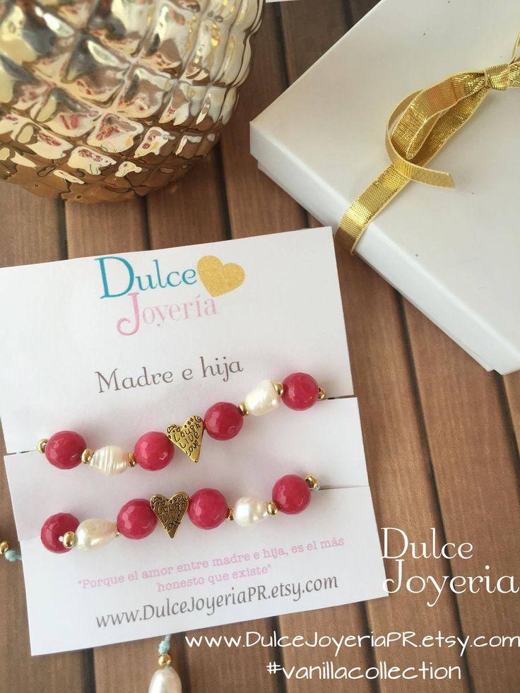 Pulseras Madre e Hija. Set de pulseras en hilo para madre e hija. Bellas www.DulceJoyeriapr.etsy.com