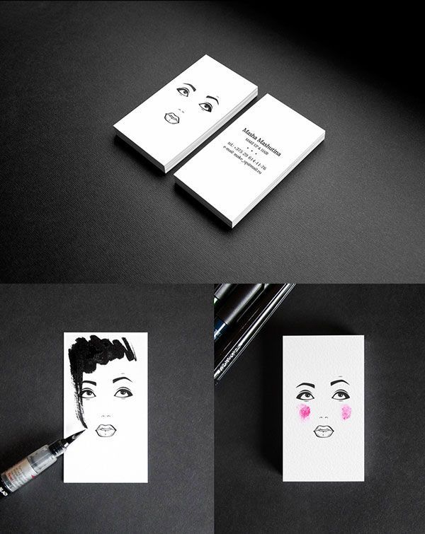 Business card for a makeup artist and hair stylist                                                                                                                                                     More