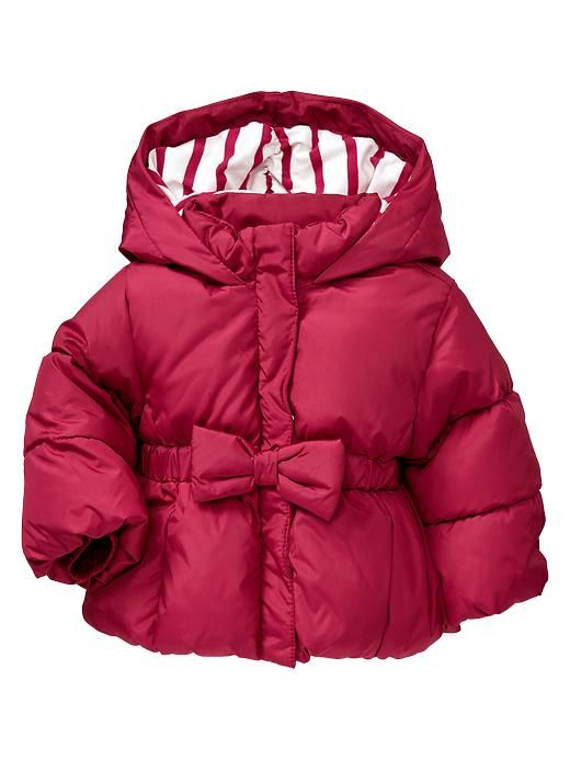 This is unbelievably precious.  Gap   Warmest puffer bow jacket