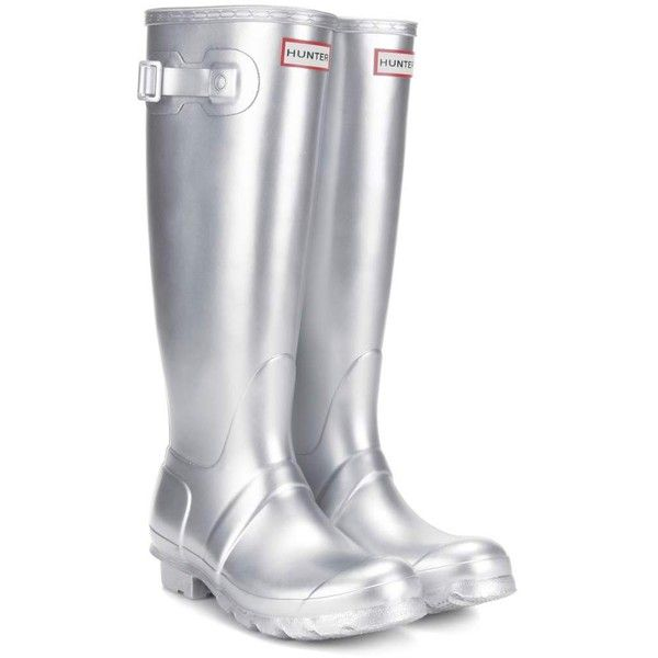 Hunter Original Tall Wellington Boots ($135) ❤ liked on Polyvore featuring shoes, boots, silver, rubber boots, tall knee high boots, tall rubber boots, wellies boots and rain boots