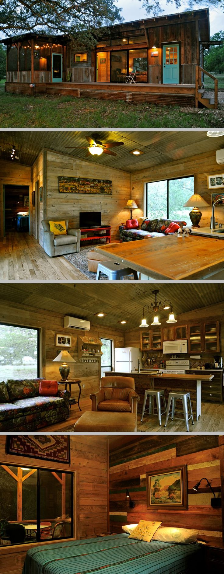 Built by Reclaimed Space from salvaged materials at their facility in  Austin, TX; with one bdrm/one bath, plus a nice deck & screened porch.