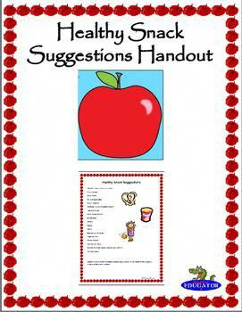 Healthy Snack Suggestions Handout By Happyedugator Teachers Pay