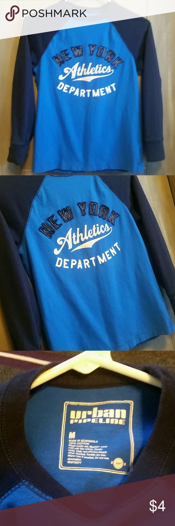 💜💙💚 Bigger Bundles Save More!!! 💚💙💜 Urban Pipeline New York Athletics shirt, size medium, has a couple spots as shown in photos 4,5,6 that's why it's only $4 or free with purchase!  💜💙💚 Bigger Bundles Save More!!! 💚💙💜  💜 10% off 2 or more... 💙 15% off 3 or more...  💚 20% of 4 or more... 💜 25% off 5 or more!! Urban Pipeline Shirts & Tops