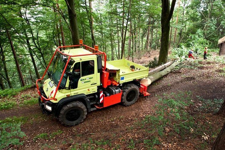 Unimog undertaking logging work