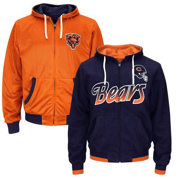 Chicago Bears Game Time Reversible Full Zip Hoodie – Navy Blue - $104.99