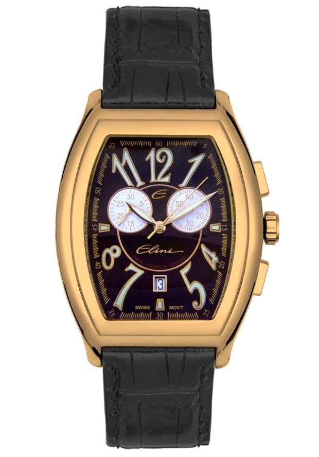 Price:$194.99 #watches Elini BK125RGBK, The Elini brand create a modern and urban look in premiun grade stainless steel case and a fashionable leather strap, this Elini chronograph timepiece is a vogue addition to your wardrobe.