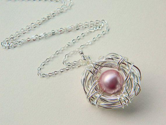 One Child Bird's Nest Necklace  Sterling Silver Pearls by gabeadz