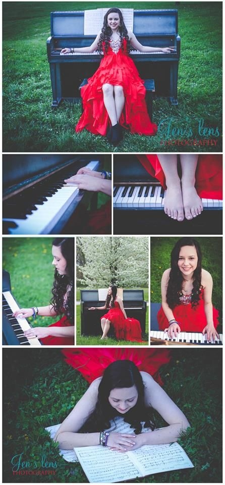 Piano Senoir Pictures with Prom Dress. Jen's Lens Photography.