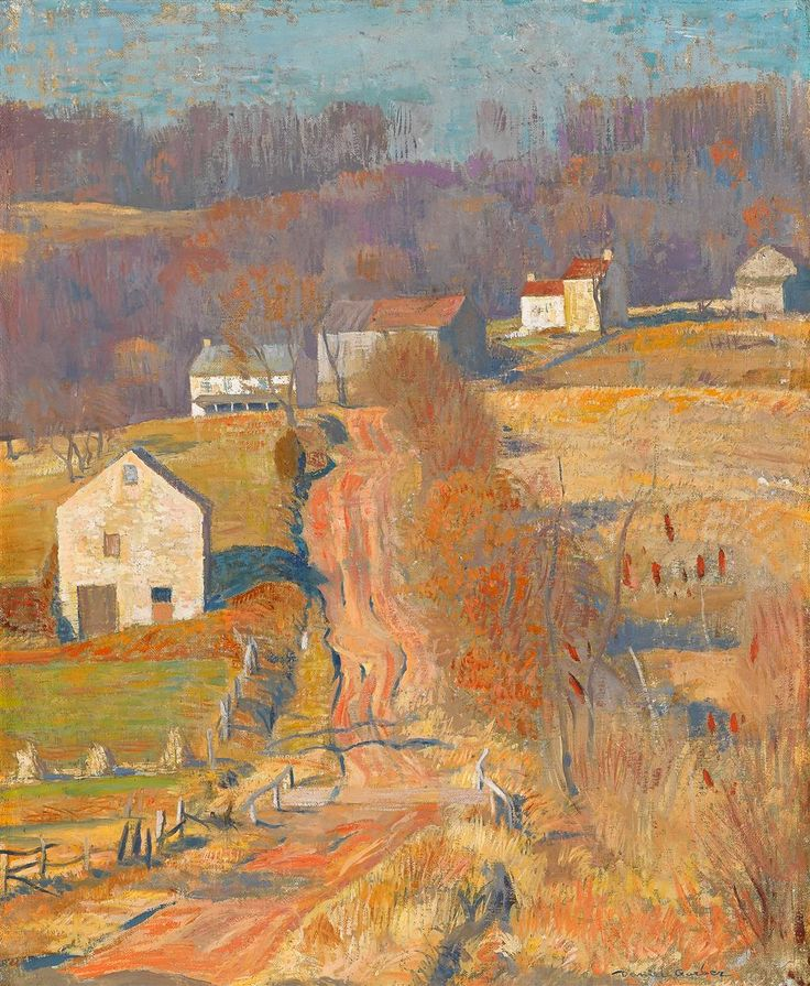 """DANIEL GARBER (American 1880-1958) """"UP JERICHO"""" Signed 'Daniel Garber' bottom right; inscribed 'Up Jericho by Daniel Garber' on stretcher bar verso, also inscribed 'Over at the Farm by Daniel Garber' and 'For Milch' on vertical stretcher bar verso, oil on canvas 22 x 18 in. (55.9 x 45.7cm) December 1930 #FreemansAuction"""