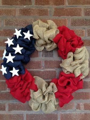 Patriotic Memorial Day 4th of July Burlap Wreath by MadeByMeg34, $55.00 by sylvia