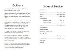 How To Write a Funeral Program Obituary - Template. Sample obituary program sample. Free sample program for memorial service. Free Funeral order of service template available on the blog by clicking on the image. Choose one of our memorial program templates at http://funeralpamphlets.com