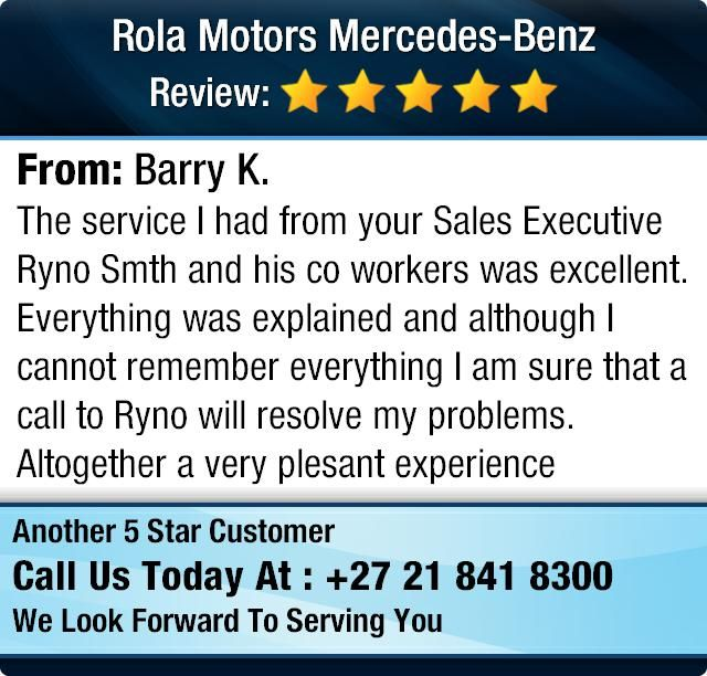 The service I had from your Sales Executive Ryno Smth and his co workers was excellent...