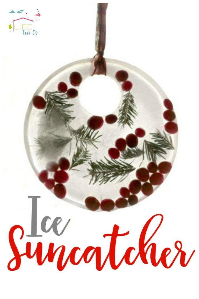 Kids will love these melting ice suncatchers that sparkle & shine as they melt! Use leftover Christmas supplies to build suncatchers. via @lifeovercs