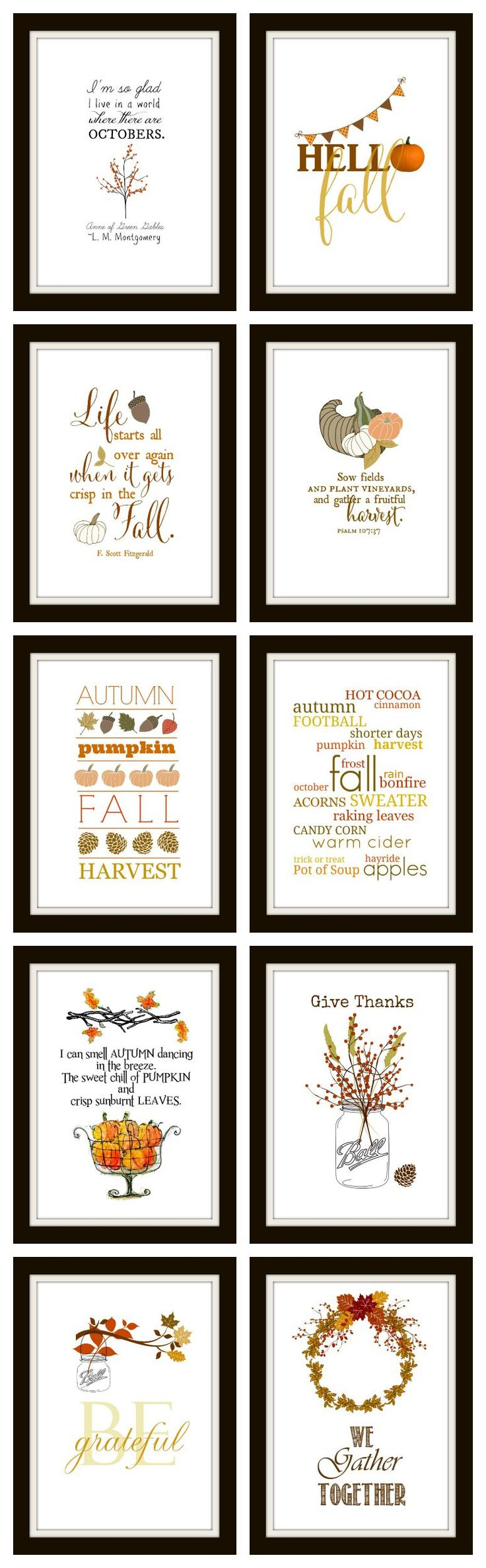 10 Free Fall Printables | Ready to frame for instant DIY wall art.