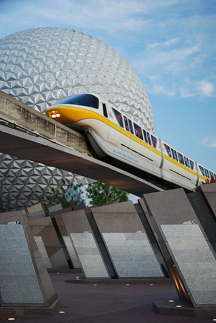 Walt Disney World, Epcot Center -- This photo shows the monorail and Spaceship Earth.