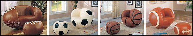 Sports themed furniture. Not totally sure if Marc would like to sit in a giant soccer ball, though.